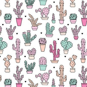 Cactus garden botanical succulent summer pastel pop pattern illustration print