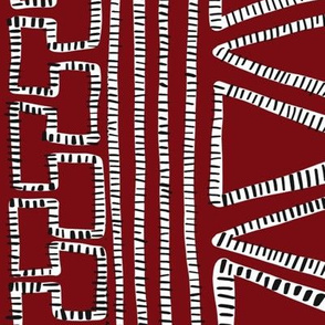 Black and White Striped geometric shapes on Burgundy Red