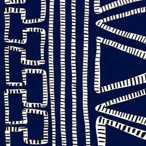 Black and White Striped geometric shapes on Indigo Blue