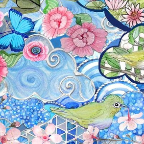 Watercolor Cherry Blossom / Japanese Water Garden
