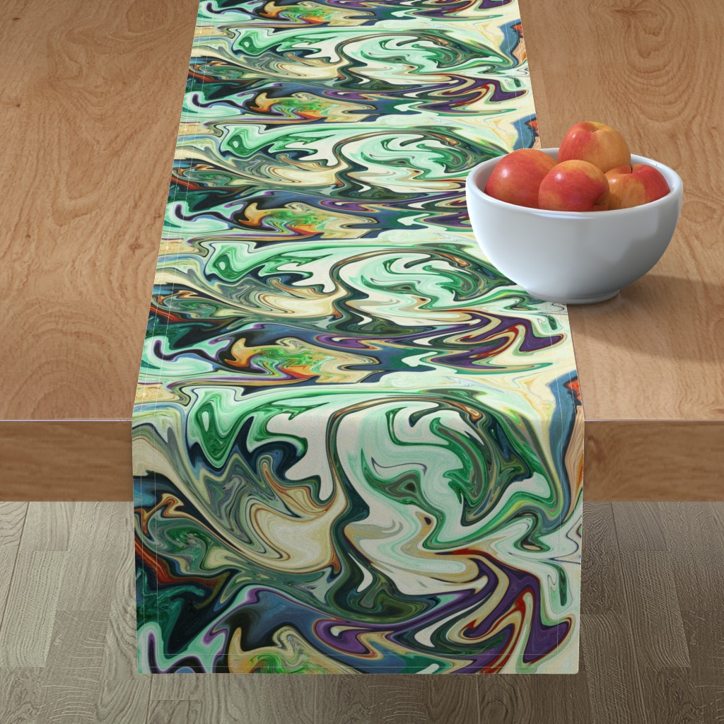 Minorca Table Runner featuring BNS3 - LG -  Marbled Mystery Swirls in Green - Beige - Orange - Purple by maryyx