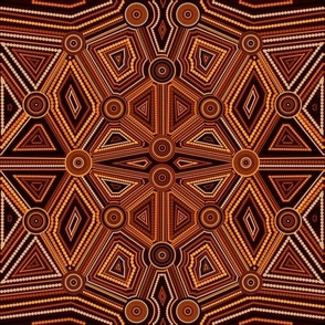 Australian Aboriginal Art Inspired brown