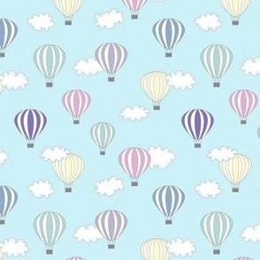 Hot air balloon // turquoise air cloud baby kids nursery design