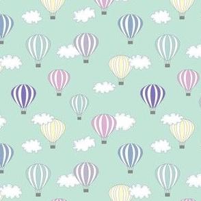 Hot air balloon // green pink air cloud baby kids nursery print design