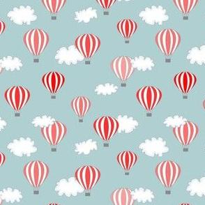 Hot air balloon // red grey blue air clouds print kids baby nursery design