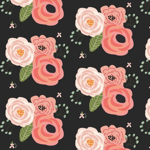 Summer Floral Blooms Black - black floral - flowers