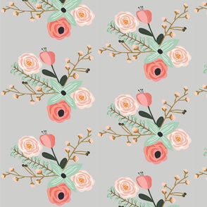 Summer Floral Grey - Grey floral - flowers