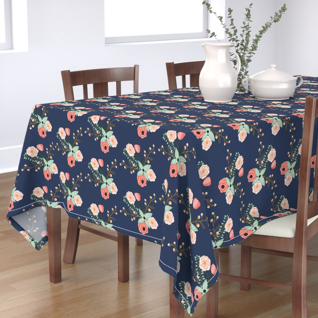 Bantam Rectangular Tablecloth featuring Summer Floral Navy - Navy Floral - flowers by modfox