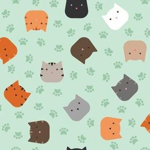 Zuko & Friends - Cat Faces Mint