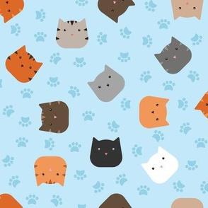 Zuko & Friends - Cat Faces Blue