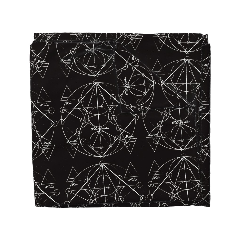 Wyandotte Duvet Cover featuring Elements Chart in Black Onyx by elliottdesignfactory