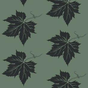 A Charcoal Hop Leaf on Dark Green