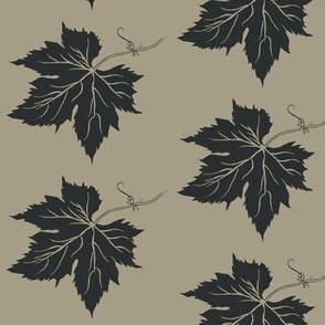 A Charcoal Hop Leaf on Old Linen