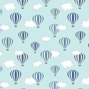 Hot air balloon // blue air clouds baby kids nursery design