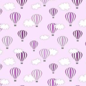 Hot air balloon //purple  fun kids design print ballons sky clouds