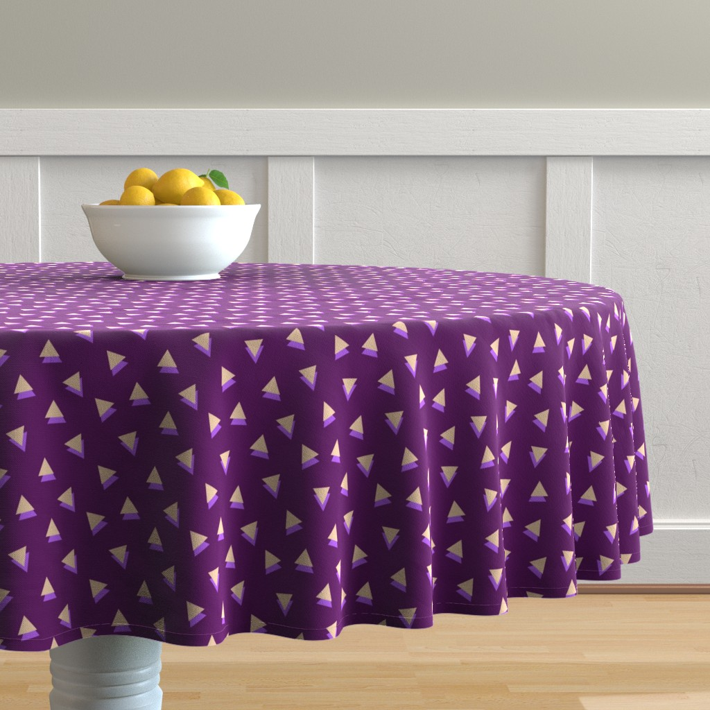 Malay Round Tablecloth featuring Lavender Triangles Shadows by Cheerful Madness!! by cheerfulmadness_cartoons