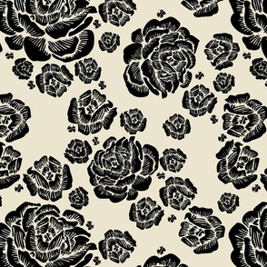 double roses - black/bone
