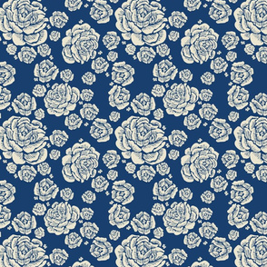 double roses - cream/blue