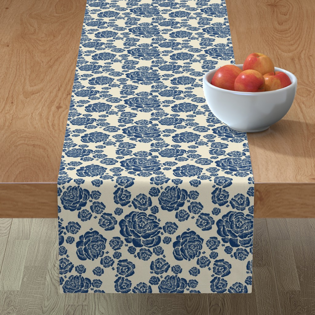 Minorca Table Runner featuring double roses - blue/cream by cinneworthington