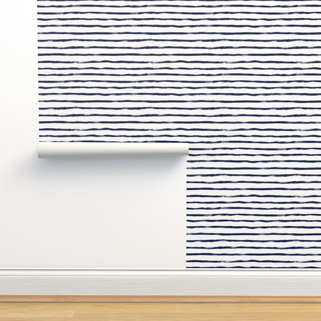 Isobar Durable Wallpaper featuring Thin Stripe Indigo by crystal_walen