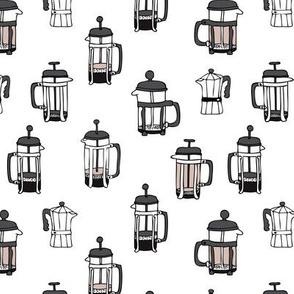 Cool italian espresso coffee maker pot illustration black and white