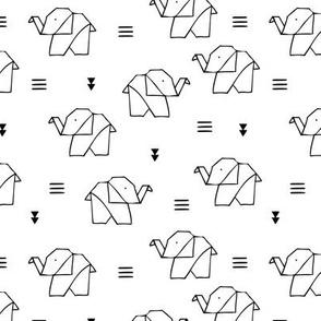 Sweet baby elephant geometric origami design black and white