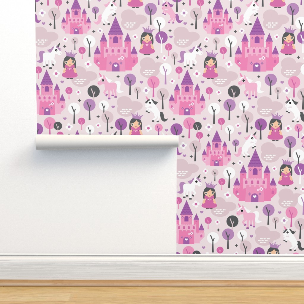 Isobar Durable Wallpaper featuring Princess unicorn and fairy land castle magical print for girls by littlesmilemakers