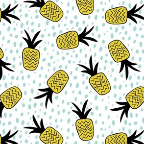 Summer pineapples memphis style pop triangle yellow mint
