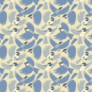Chickadees in Blue