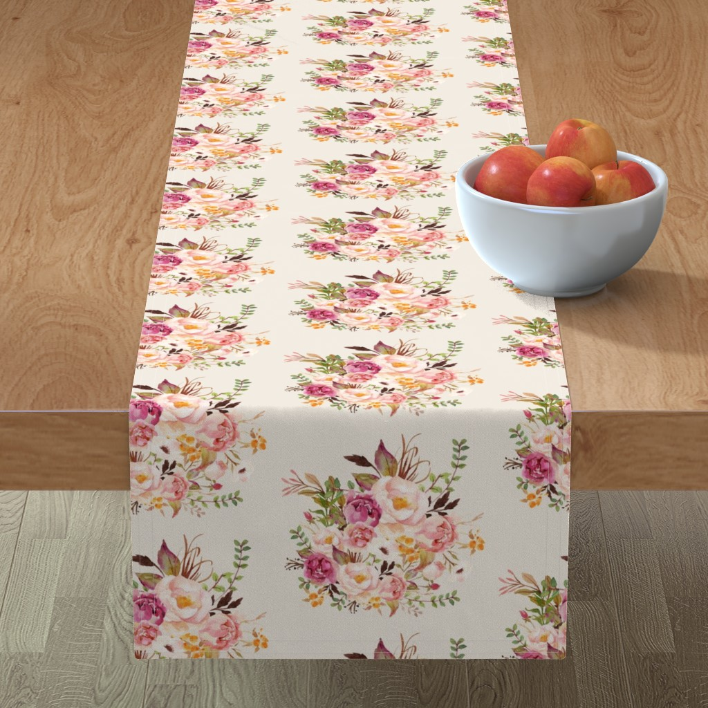 Minorca Table Runner featuring Boho Vintage Floral Pastel - Pink by shopcabin