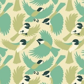 Chickadees in Greens