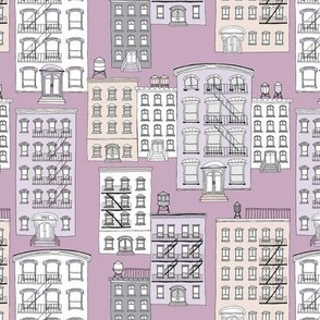 New York City Apartment brownstone and water tank architecture lilac violet