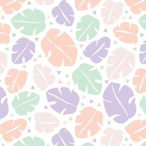 Tropical summer monstera leaves monstera geometric triangles and sweet pastels