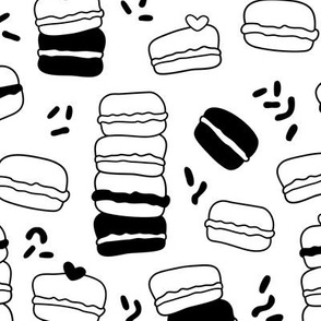 Cool trendy candy macaron macaroon design memphis style black and white