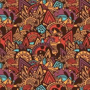 Mayan Fantasy / Brown, Orange, Blue