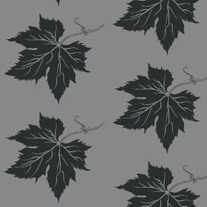Charcoal Hop Leaf on Grey