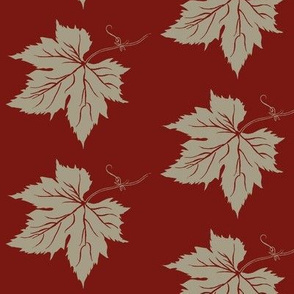 Old Linen Hop Leaf on Red