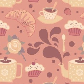 Tea and dessert in pink