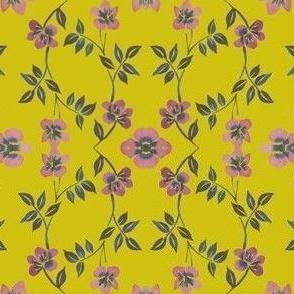 Mustard Pink Floral Twist