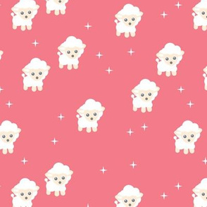 Counting sheep stars and night dream theme for little baby girls pink