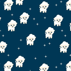 Counting sheep stars and night dream theme for little baby boys and girls blue