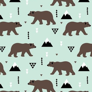 Grizzly bear woodland and geometric triangle mountains fall winter mint