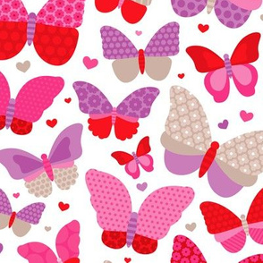 Colorful summer butterfly patchwork love sweet girls fabric pink