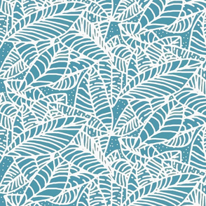 Teal Batik Leaves 450