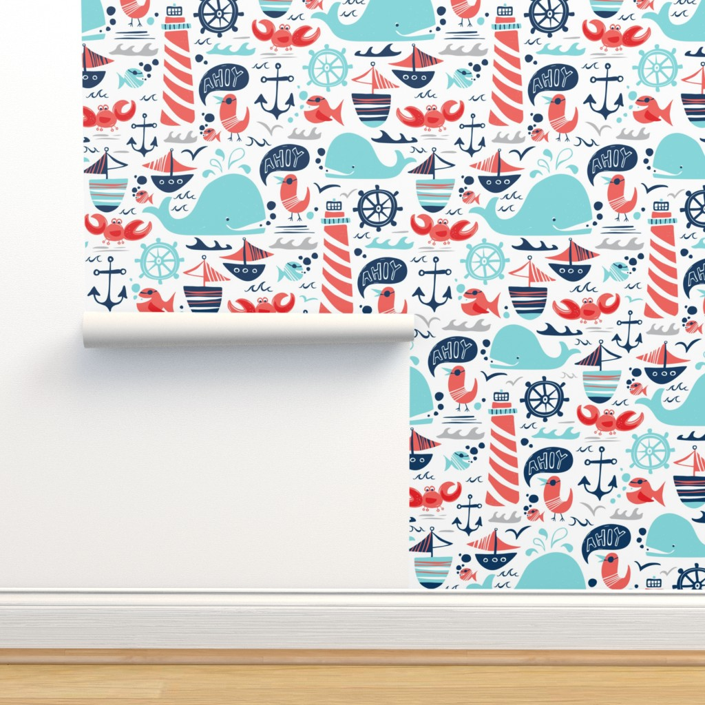 Isobar Durable Wallpaper featuring Ahoy Matey - Summer Nautical by heatherdutton
