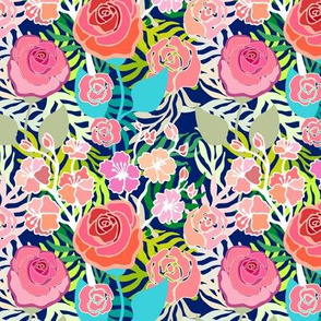 Vintage pattern with roses and palm leaves