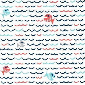 Choppy Waters - Nautical Fish & Waves