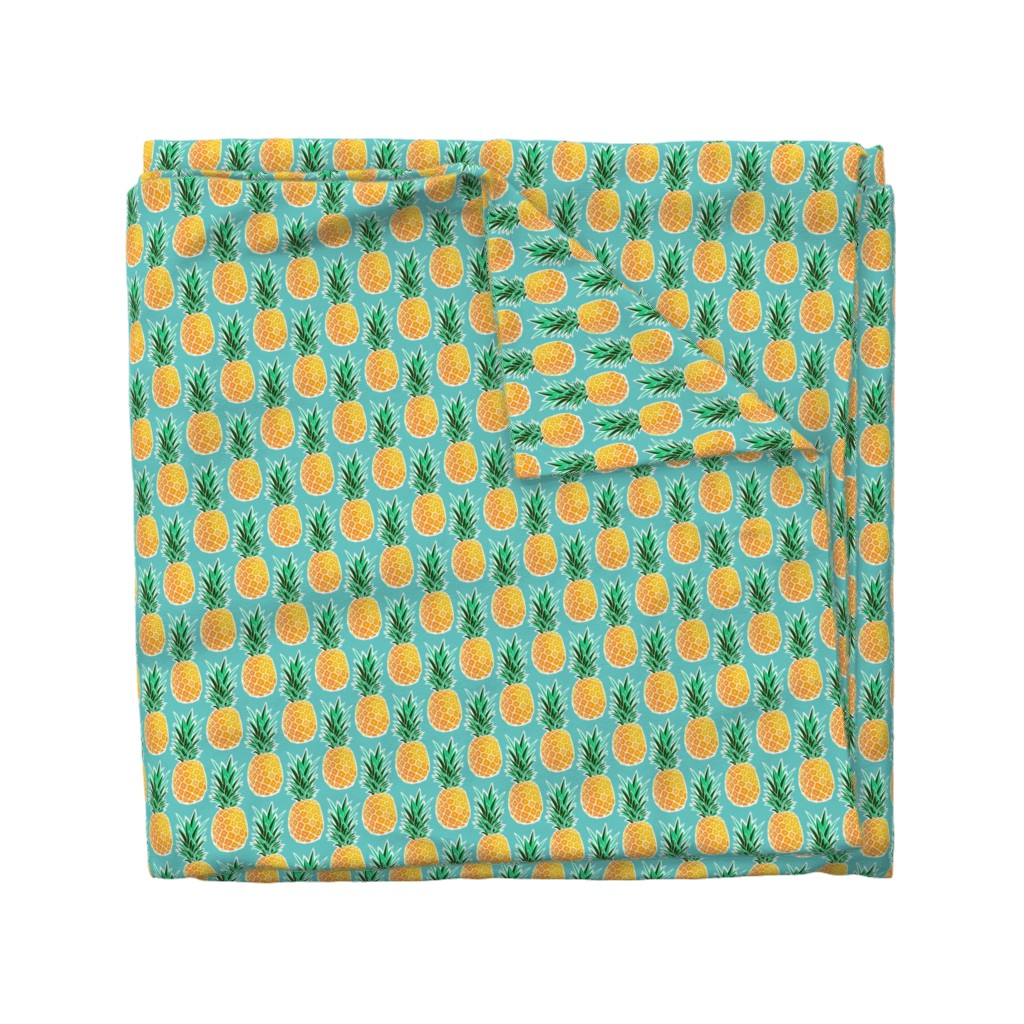 Wyandotte Duvet Cover featuring Tropical Pineapple - Turquoise Geometric Fruit by heatherhightdesign