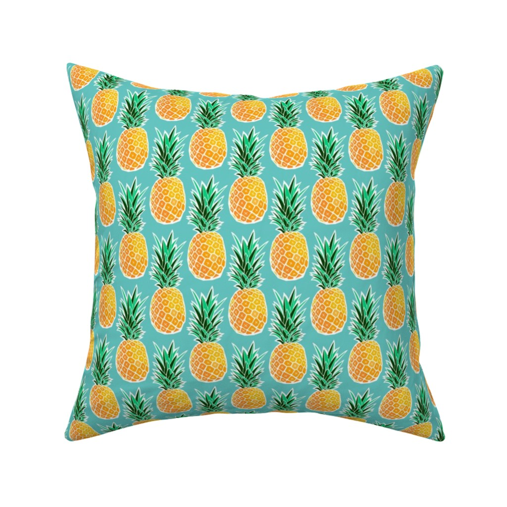 Catalan Throw Pillow featuring Tropical Pineapple - Turquoise Geometric Fruit by heatherhightdesign