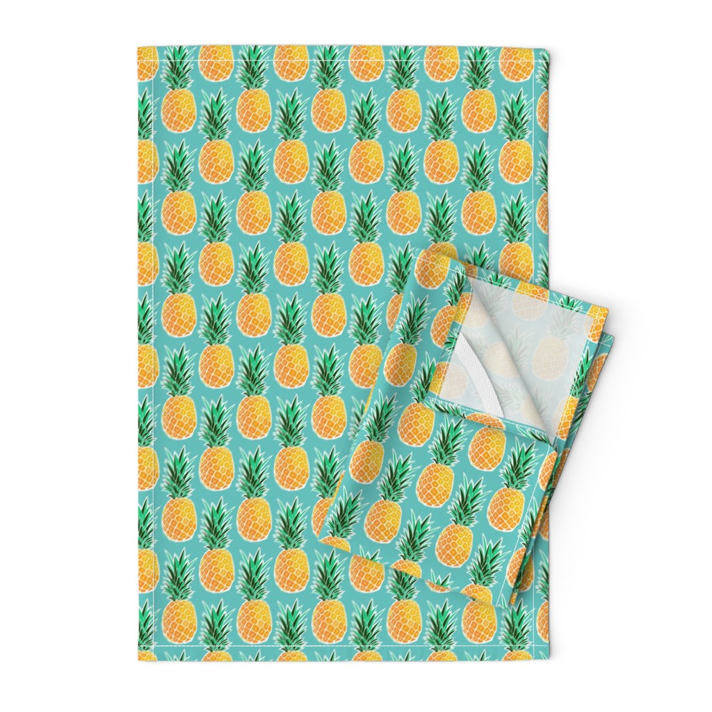 Orpington Tea Towels featuring Tropical Pineapple - Turquoise Geometric Fruit by heatherhightdesign
